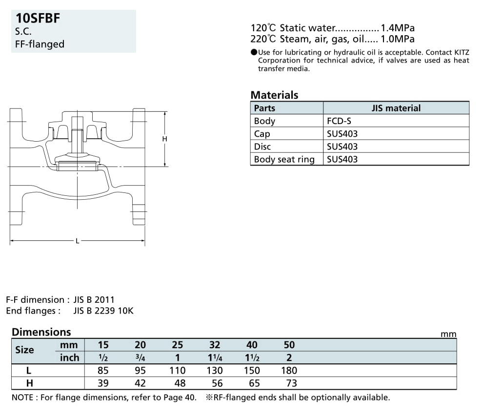 Van một chiều 10K - 10SFBF - Kitz