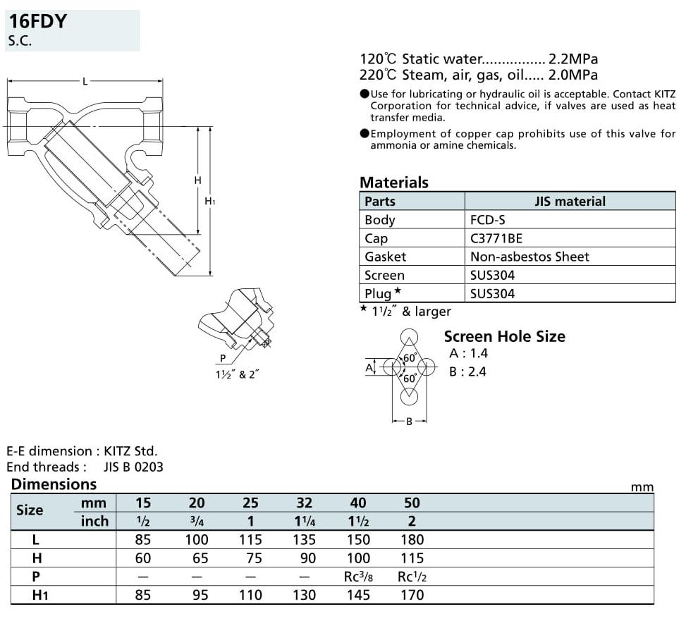Lọc Y 16K - 16FDY - Kitz