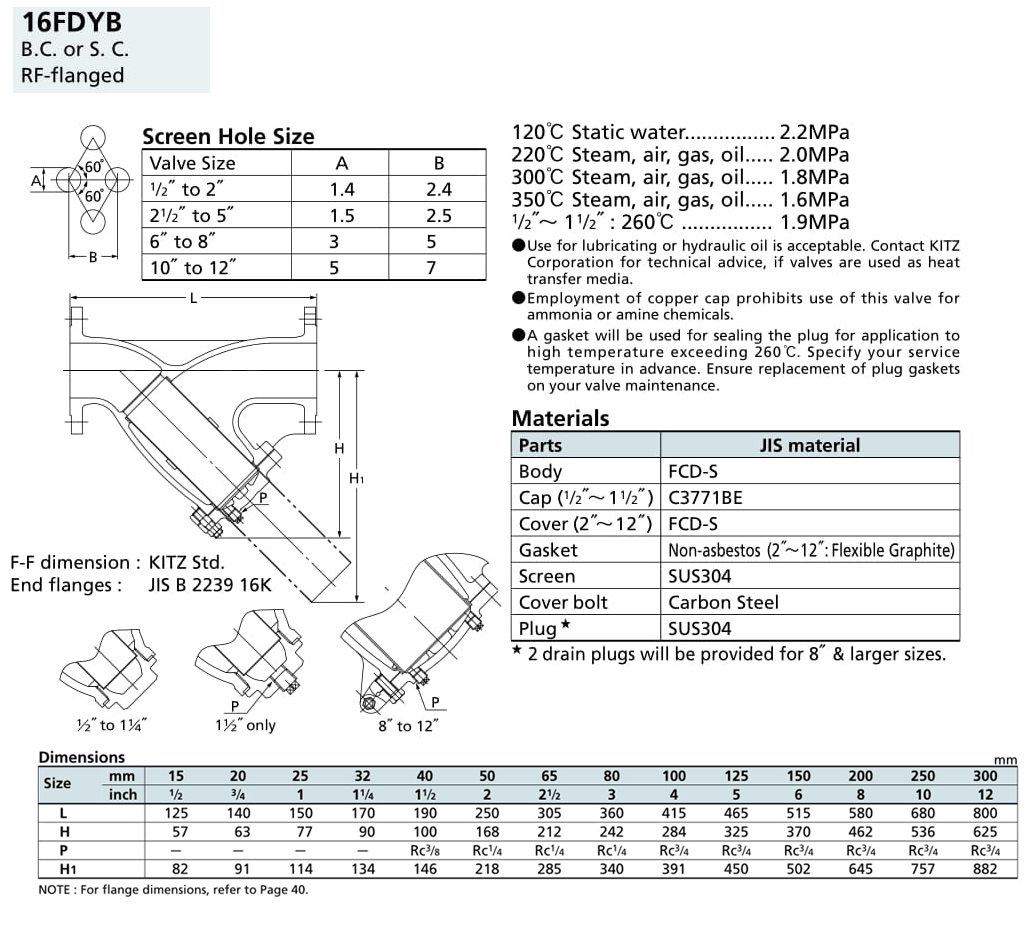 Lọc Y 16K - 16FDYB - Kitz