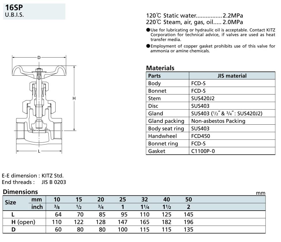 Van cầu 16K - 16SP - Kitz
